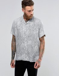 Asos Viscose Shirt In Paisley Print With Revere Collar In Oversized Fit White