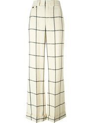 Chloa Checked Wide Leg Trousers Nude And Neutrals