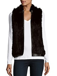 Saks Fifth Avenue Rabbit Fur Open Front Vest Black