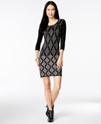 Spense Petite Textured Diamond Print Sheath Sweater Dress Black Ivory