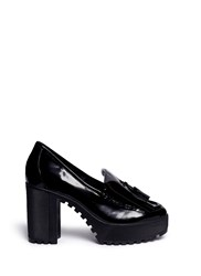 Atelje 71 'Anja' Patent Box Calf Leather Platform Loafers Black