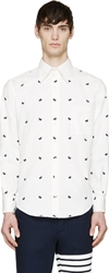 Thom Browne White And Navy Butterfly Button Down Shirt
