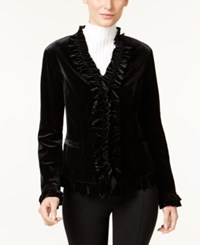 Inc International Concepts Ruffled Velvet Jacket Only At Macy's Deep Black