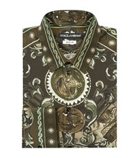 Dolce And Gabbana Baroque Print Shirt Male Forest