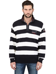 Paul And Shark Zipped Striped Wool Sweater Off White Navy