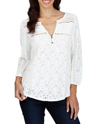 Lucky Brand Lace Front Three Quarter Sleeve Top Whisper White