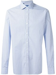 Barba Micro Print Shirt Blue