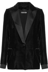 Tom Ford Satin Trimmed Velvet Blazer Black