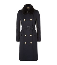 Burberry Brickhill Fur Collar Wool Cashmere Trench Coat Female Dark Blue