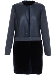 Yves Salomon Shearling And Cashmere Coat Grey
