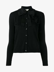 Fendi Wool Blend Ribbed Cardigan Black