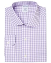 Brooks Brothers Men's Regent Classic Fit Non Iron Purple Gingham Checked Dress Shirt