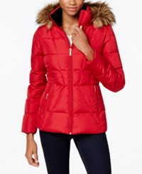 Calvin Klein Faux Fur Lined Quilted Puffer Coat Crimson