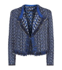 Maje Marius Tweed Fringe Trim Cardigan Female Navy