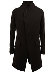 Masnada Angled Pocket Asymmetric Coat Black