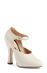 Gucci Women's 'Lesley' Ankle Strap Pump White Leather