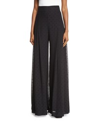 See By Chloe High Rise Chiffon Polka Dot Trousers Black