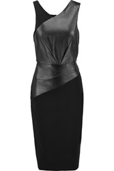 Roland Mouret Arley Perforated Leather And Crepe Dress Black