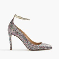 J.Crew Coated Glitter Pumps With Ankle Strap Multi Glitter