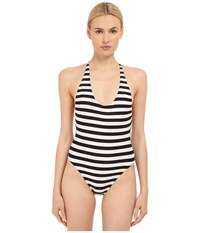 Proenza Schouler Strappy Crossback Maillot One Piece Black White Women's Swimsuits One Piece