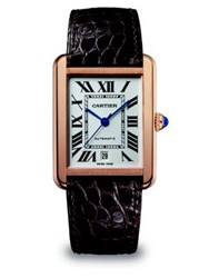 Cartier Tank Solo Automatic Extra Large 18K Pink Gold And Alligator Strap Watch No Color