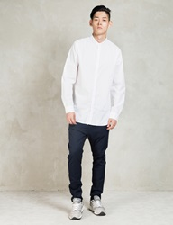 White Tuck Collar L S Shirt