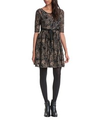 Plenty By Tracy Reese Elbow Sleeved Lace Overlay Black Combo