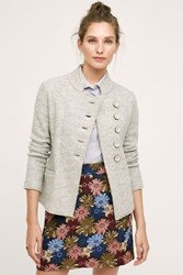 Anthropologie Military Sweater Coat Light Grey