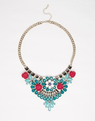 Oasis Flower Stone Bib Necklace Multi