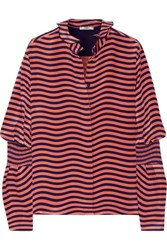 Fendi Striped Silk Cady Blouse Antique Rose