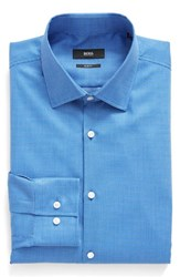 Boss Men's Big And Tall Slim Fit Geometric Dress Shirt Bright Blue