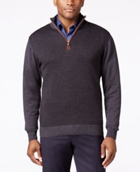 Tricots St Raphael Big And Tall Quarter Zip Faux Suede Trim Herringbone Sweater Charcoal Heather