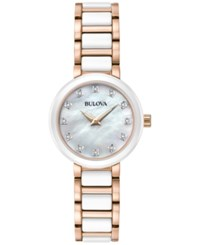 Bulova Women's Diamond Accent White Ceramic And Rose Gold Tone Stainless Steel Bracelet Watch 30Mm 98P160