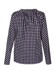 Marni Tie Back Checked Coated Cotton Poplin Blouse Navy Multi