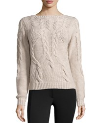 Halston Long Sleeve Cable Knit Wool Sweater Bone Ivory