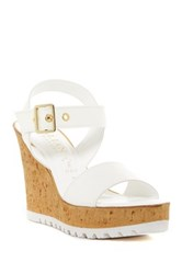 Italian Shoemakers Ankle Strap Wedge Sandal White