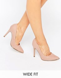 New Look Wide Fit Gold Trim Pointed Heel Oatmeal Stone