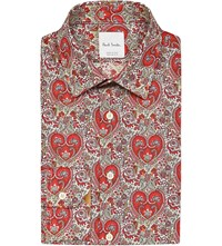 Paul Smith Graphic Flower Print Cotton Shirt Red