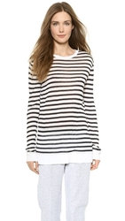 Alexander Wang Striped Rayon Linen Tee Ink And White