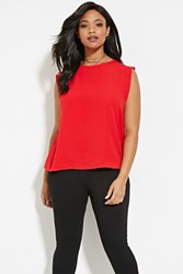 Forever 21 Plus Size Semi Sheer Top Red