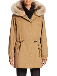 Vince Rabbit Fur Lined Parka Brass Khaki