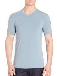Giorgio Armani Banded V Neck Short Sleeve Tee Light Blue
