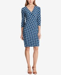 American Living Geo Print Jersey Dress Blue