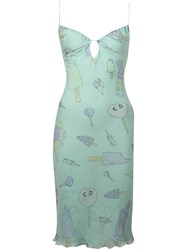 Christian Dior Vintage Candy And Icecream Print Slip Dress Green
