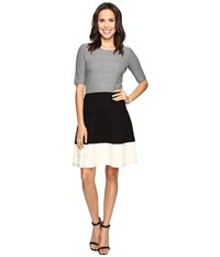 Christin Michaels Kaira Color Block Fit And Flare Sweater Dress Grey Black White Women's Dress Gray
