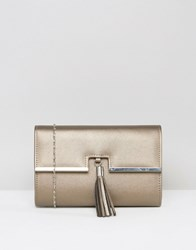 Chi Chi London Foldover Clutch Bag With Tassel Detail In Bronze Bronze Gold