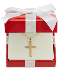Macy's Traditional Cross Pendant Necklace In 14K Gold No Color
