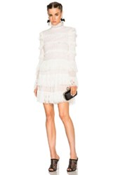 Alexander Mcqueen A Line Ruffle Mini Dress In White