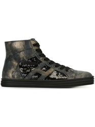 Hogan Rebel Sequin Embellished Hi Top Sneakers Black