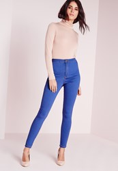 Missguided Tall High Waisted Skinny Jeans Blue